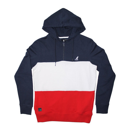 Colorblock Fleece 1/4 Zip Hoodie // Catamaran Navy + Red (S)