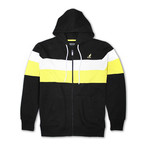 Colorblock Full Zip Hoodie // Black Combo (M)