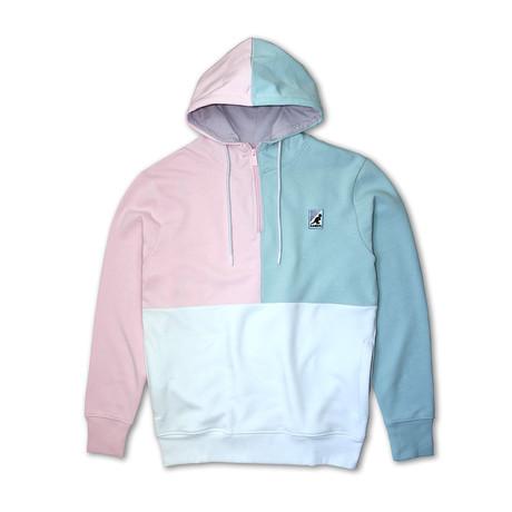 Colorblock 1/4 Zip Fleece Hoodie // Pink + Blue (S)