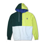 Colorblock 1/4 Zip Fleece Hoodie // Emerald + Lime (S)