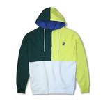 Colorblock 1/4 Zip Fleece Hoodie // Emerald + Lime (2XL)