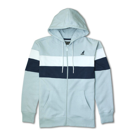 Colorblock Full Zip Hoodie // Baby Blue Combo (S)