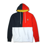Colorblock 1/4 Zip Fleece Hoodie // Navy + Red (M)