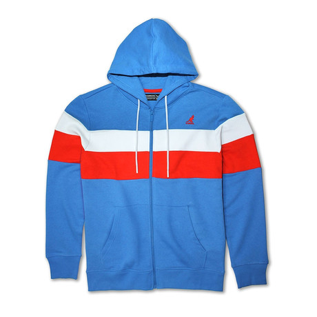 Colorblock Full Zip Hoodie // Palace Blue Combo (S)