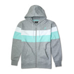 Colorblock Full Zip Hoodie // Ash Mix Combo (S)