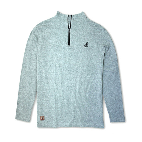 1/4 Zip Stretch Knit Long Sleeve Top // Gray Mix (S)