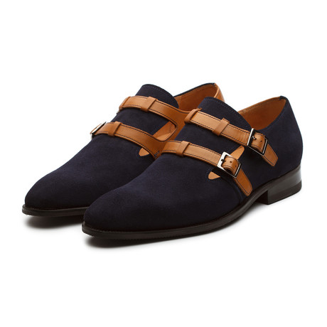 Combination Suede + Leather Monkstrap // Navy + Tan (US: 7)