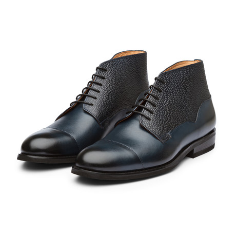 Balmoral Leather Boot // Navy Grain (US: 7)