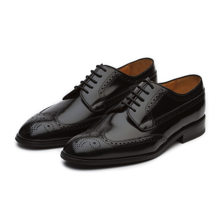 High Gloss Leather Wingtip Derby Brogue // Black (US: 7)