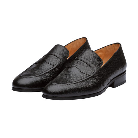 Saddle Penny Loafers // Black Grain (US: 7)
