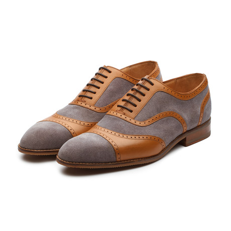 Combination Suede + Leather Oxford // Gray + Tan (US: 7)