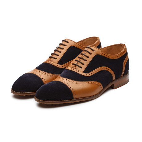 Combination Suede + Leather Oxford // Navy + Tan (US: 7)
