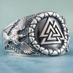 Valknut + Raven Style Ring (11.5)