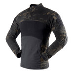Long sleeve t-shirt // Camouflage Print + Black (2XL)