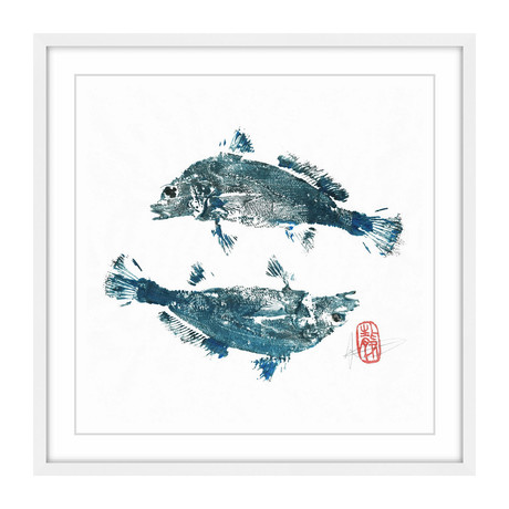 "Blue Croakers Go Ying Yang (12""W x 12""H x 1.5""D)"