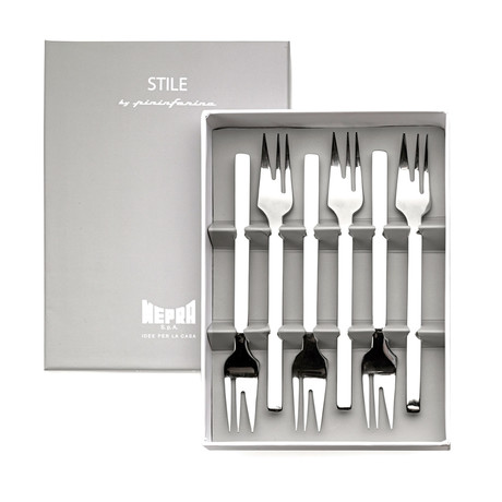 Stile Cake Forks // 6 Piece Set // Glossy Stainless