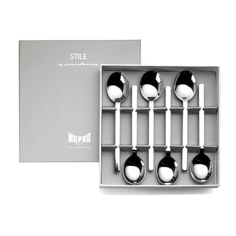 Stile Coffee Spoons // 6 Piece Set // Glossy Stainless