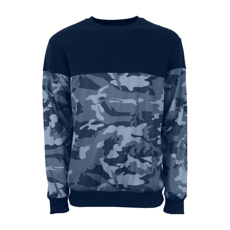 Camo Long Sleeve Creweck Sweatshirt // Navy (XS)