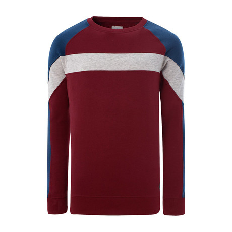 Color Block Long Sleeve Crewneck Sweatshirt // Red (XS)