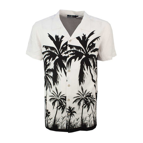 Palm Tree Print Camp Collar Short Sleeve Button Down Shirt // Ecru (XS)