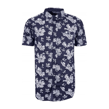 Floral Print Short Sleeve Button Down Shirt // Navy (XS)