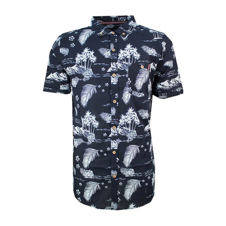 Hawaiian Short Sleeve Button Down Shirt // Navy (XS)