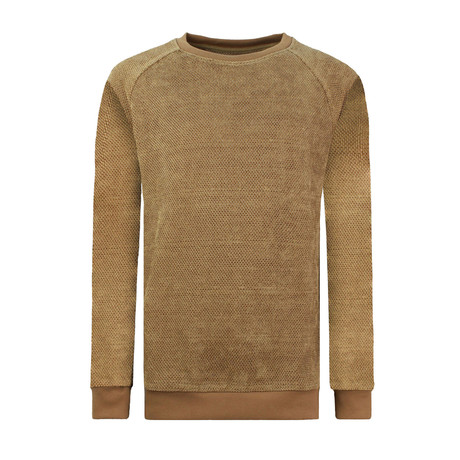 Textured Long Sleeve Crewneck Sweatshirt // Beige (XS)