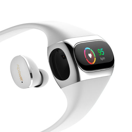 AI-W20 // Wearbuds // Fitness Tracker + Earbuds // White