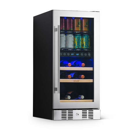 """NewAir 15"""" Wine + Beverage Fridge // Built-in Dual Zone"""