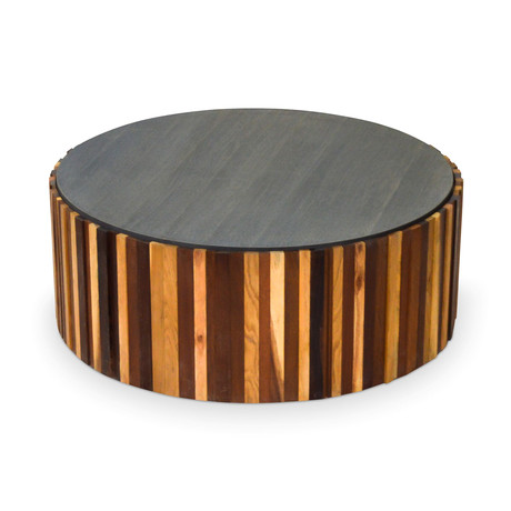 Round Salvaged Wood Coffee Table