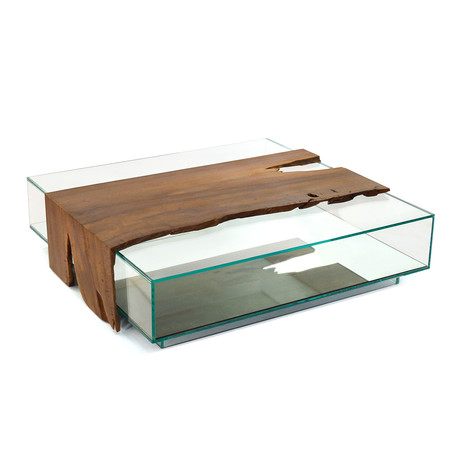 Canela Wood + Glass Box Coffee Table