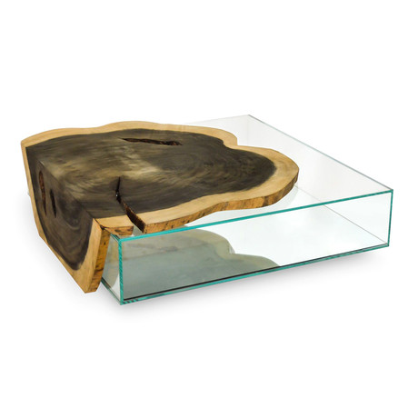 Crosscut Wood Weathered Finish Glass Box Coffee Table