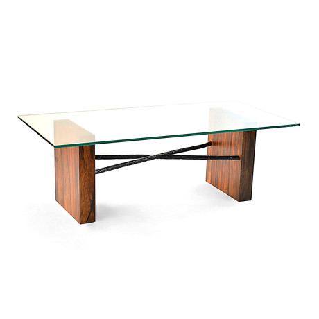 Canela Wood & Glass Top Coffee Table