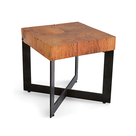 Square Wood Mosaic Side Table