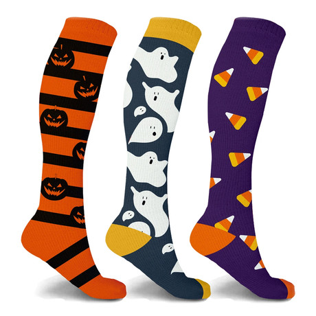 Pumpkin + Ghost + Candycorn Knee-High Compression Socks // 3-Pairs (Small / Medium)