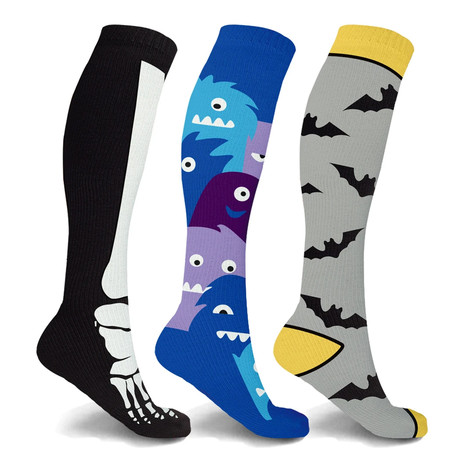 Bones + Bats + Beasts Knee-High Compression Socks // 3-Pairs (Small / Medium)