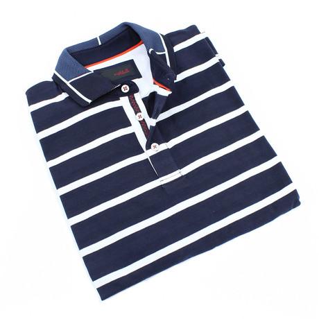 Ross Stripe Polo // Navy (S)
