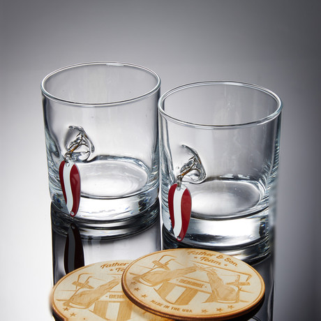 Lure Rocks Glass // Set of 2 Glasses + 2 Wooden Coasters