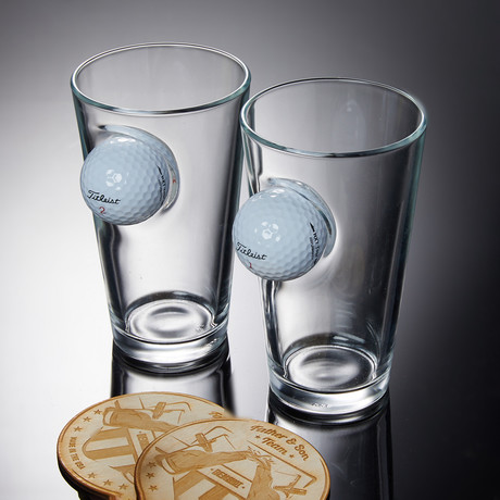 Golf Ball Pint Glass // Set of 2 Glasses + 2 Wooden Coasters