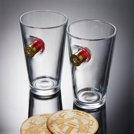 Shotgun Shell Pint Glass // Set of 2 Glasses + 2 Wooden Coasters