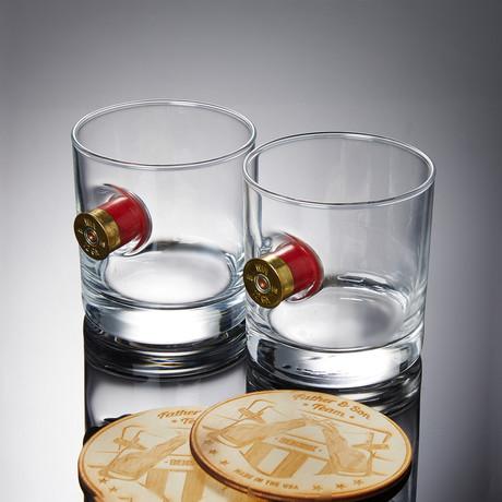 Shotgun Shell Rocks Glasses // Set of 2 Glasses + 2 Wooden Coasters