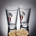 Lure Pint Glasses // Set of 2 Glasses + 2 Wooden Coasters