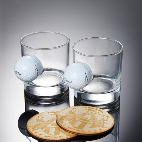 Golf Ball Rocks Glass // Set of 2 Glasses + 2 Wooden Coasters