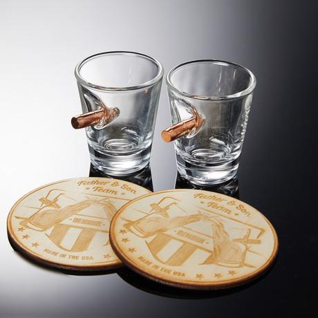 Original Rocks Glass Set (2 Glasses + 2 Wooden Coasters)