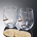 Wine Glass + Wooden Coaster // Set of 2