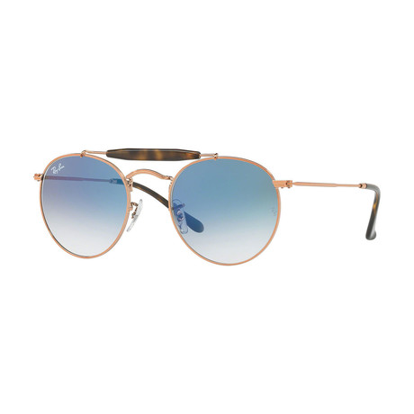 Unisex Round Aviator Sunglasses // Bronze Copper + Light Blue Gradient