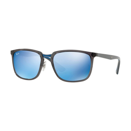 Unisex Rectangle Sunglasses // Gray + Blue Mirror