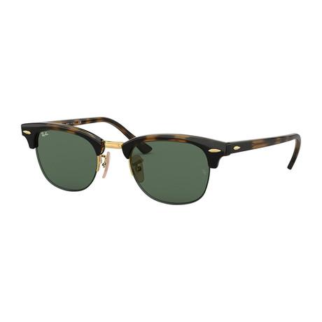 Unisex Clubmaster Sunglasses // Tortoise + Green