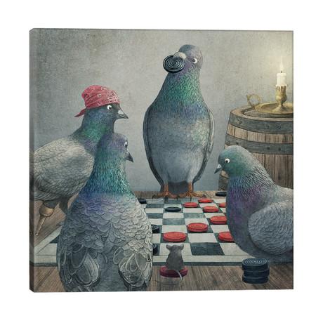 "Checker Playing Pigeons // Terry Fan (26""W x 26""H x 1.5""D)"