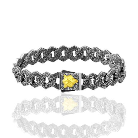 "Wolf Inlay Bracelet // Silver (7"")"